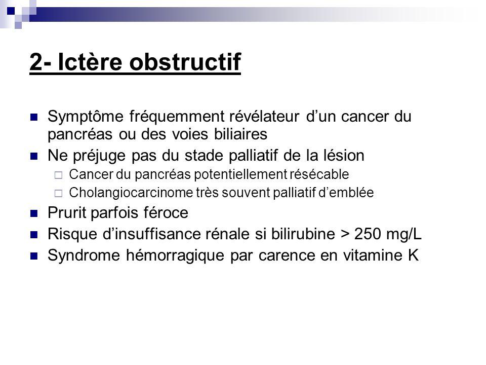 2- Ictère obstructif Symptôme fréquemment révélateur dun cancer du pancréas ou des voies biliaires Ne préjuge pas du stade palliatif de la lésion Canc