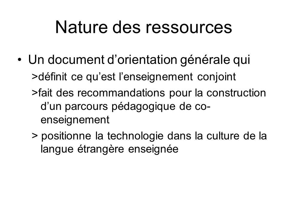 Nature des ressources Un document dorientation générale qui >définit ce quest lenseignement conjoint >fait des recommandations pour la construction du