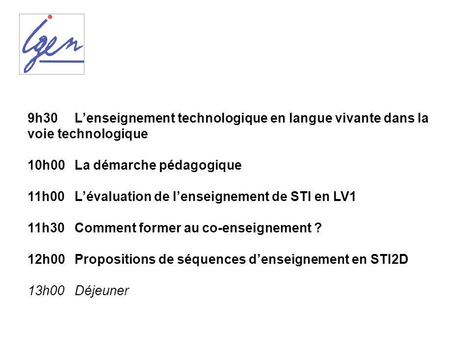 9h30Lenseignement technologique en langue vivante dans la voie technologique 10h00La démarche pédagogique 11h00Lévaluation de lenseignement de STI en