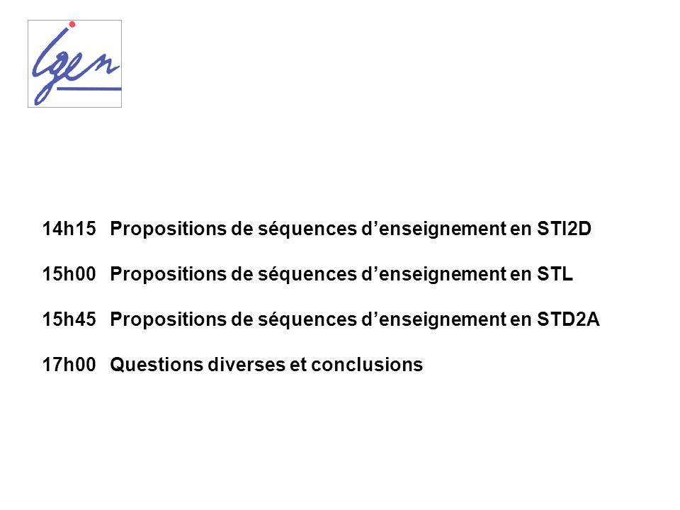 14h15 Propositions de séquences denseignement en STI2D 15h00 Propositions de séquences denseignement en STL 15h45 Propositions de séquences denseignem