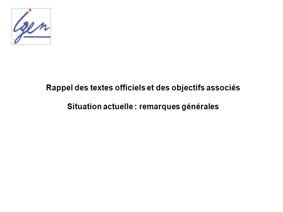 Rappel des textes officiels et des objectifs associés Situation actuelle : remarques générales