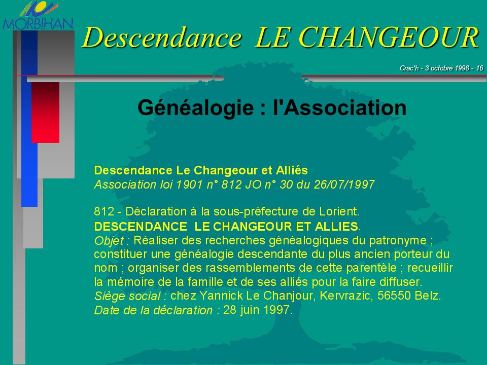 Crac'h - 3 octobre 1998 - 16 Crac'h - 3 octobre 1998 - 16 Descendance LE CHANGEOUR Généalogie : l'Association
