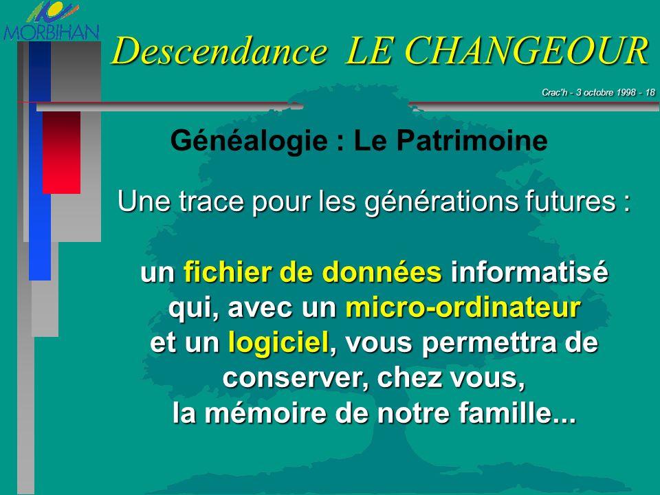 Crac'h - 3 octobre 1998 - 18 Crac'h - 3 octobre 1998 - 18 Descendance LE CHANGEOUR Généalogie : Le Patrimoine Une trace pour les générations futures :