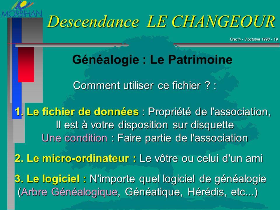 Crac'h - 3 octobre 1998 - 19 Crac'h - 3 octobre 1998 - 19 Descendance LE CHANGEOUR Généalogie : Le Patrimoine Comment utiliser ce fichier ? : 1. Le fi