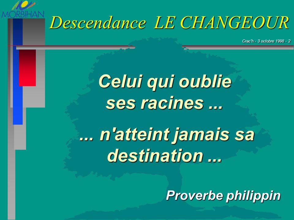 Crac'h - 3 octobre 1998 - 2 Crac'h - 3 octobre 1998 - 2 Descendance LE CHANGEOUR Celui qui oublie ses racines...... n'atteint jamais sa destination...