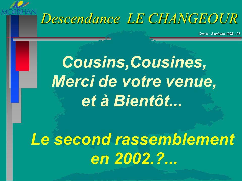 Crac'h - 3 octobre 1998 - 24 Crac'h - 3 octobre 1998 - 24 Descendance LE CHANGEOUR Cousins,Cousines, Merci de votre venue, et à Bientôt... Le second r