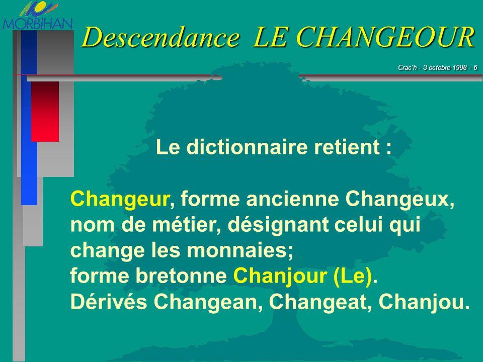 Crac'h - 3 octobre 1998 - 6 Crac'h - 3 octobre 1998 - 6 Descendance LE CHANGEOUR Le dictionnaire retient : Changeur, forme ancienne Changeux, nom de m