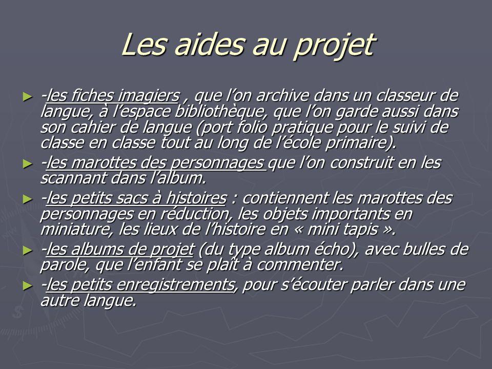 Les aides au projet -les fiches imagiers, que lon archive dans un classeur de langue, à lespace bibliothèque, que lon garde aussi dans son cahier de l