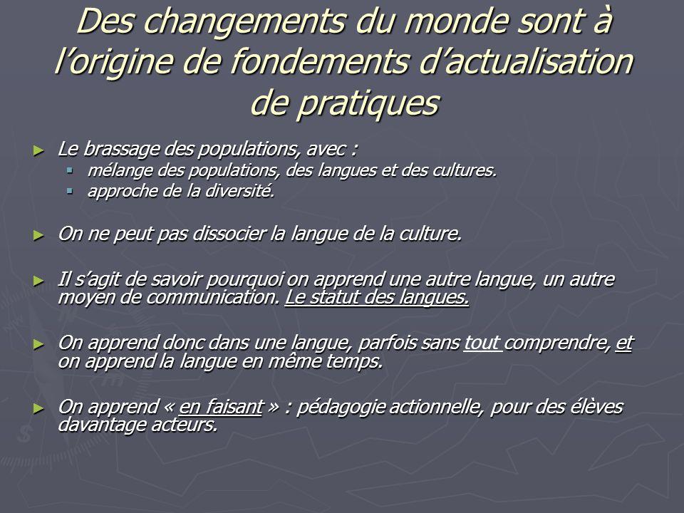 Des changements du monde sont à lorigine de fondements dactualisation de pratiques Le brassage des populations, avec : Le brassage des populations, avec : mélange des populations, des langues et des cultures.