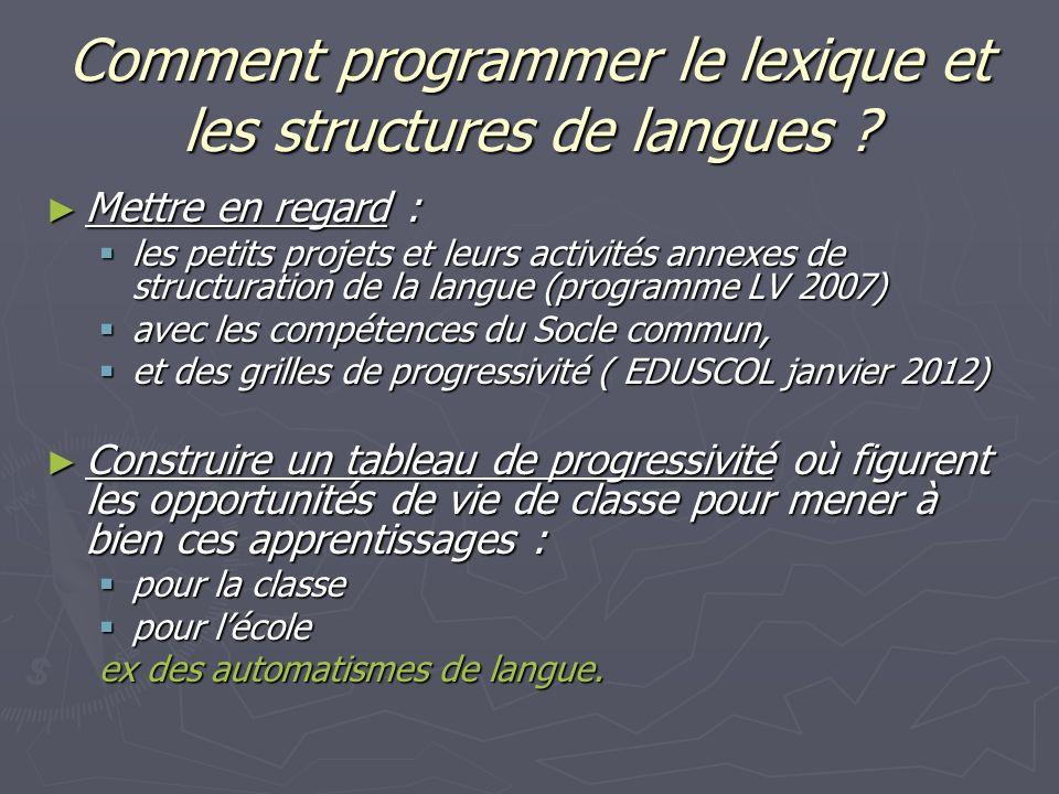 Comment programmer le lexique et les structures de langues ? Mettre en regard : Mettre en regard : les petits projets et leurs activités annexes de st