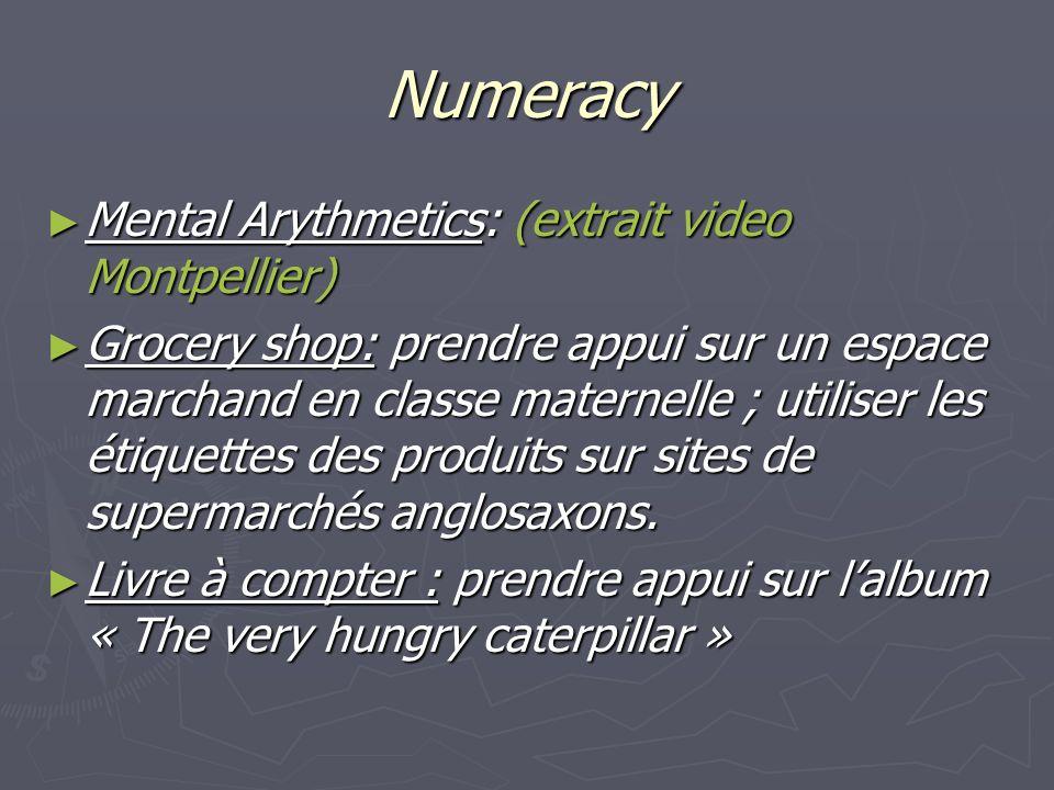 Numeracy Mental Arythmetics: (extrait video Montpellier) Mental Arythmetics: (extrait video Montpellier) Grocery shop: prendre appui sur un espace marchand en classe maternelle ; utiliser les étiquettes des produits sur sites de supermarchés anglosaxons.