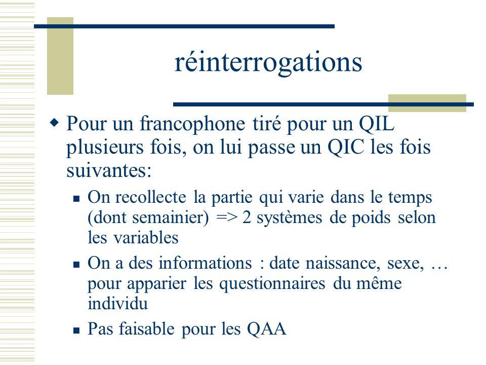 réinterrogations Pour un francophone tiré pour un QIL plusieurs fois, on lui passe un QIC les fois suivantes: On recollecte la partie qui varie dans l