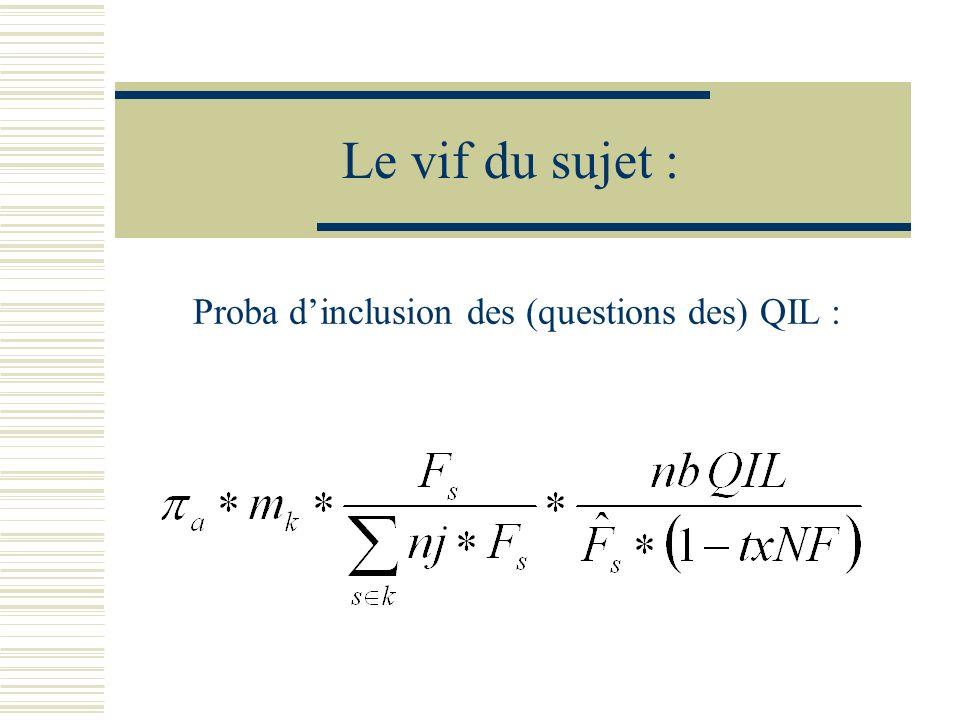 Le vif du sujet : Proba dinclusion des (questions des) QIL :