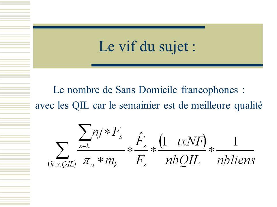 Le vif du sujet : Le nombre de Sans Domicile francophones : avec les QIL car le semainier est de meilleure qualité