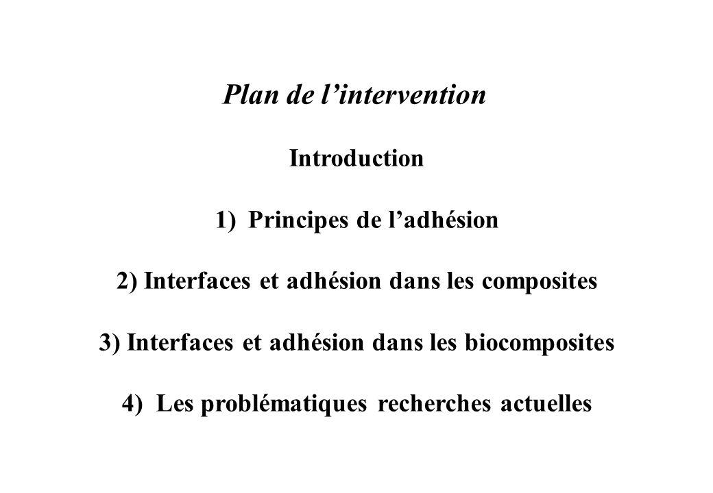 Plan de lintervention Introduction 1)Principes de ladhésion 2) Interfaces et adhésion dans les composites 3) Interfaces et adhésion dans les biocompos