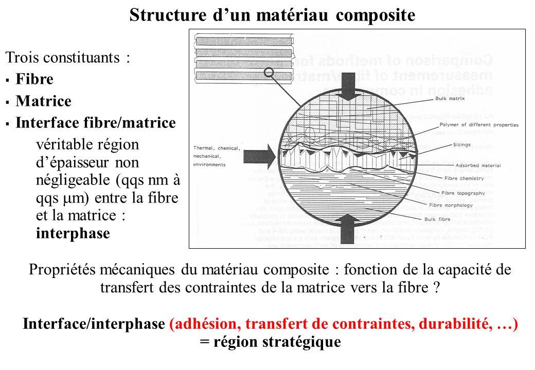 Structure dun matériau composite Trois constituants : Fibre Matrice Interface fibre/matrice véritable région dépaisseur non négligeable (qqs nm à qqs