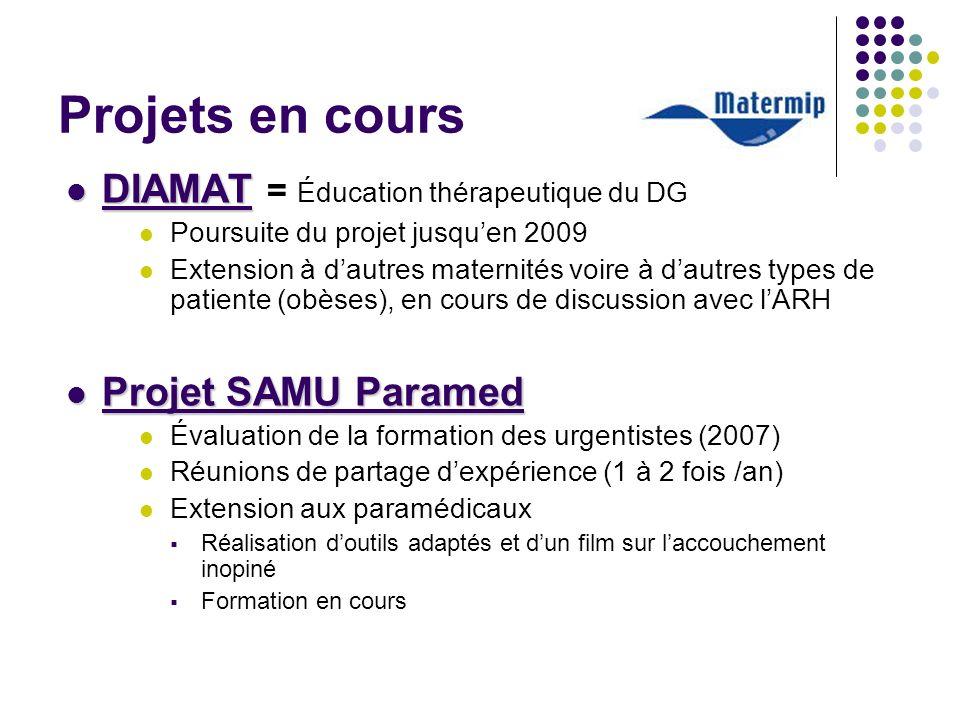 Projets en cours DIAMAT DIAMAT = Éducation thérapeutique du DG Poursuite du projet jusquen 2009 Extension à dautres maternités voire à dautres types d