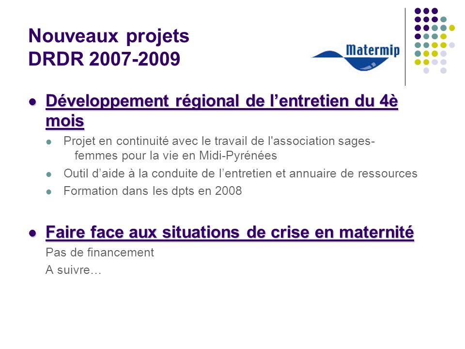 Nouveaux projets DRDR 2007-2009 Développement régional de lentretien du 4è mois Développement régional de lentretien du 4è mois Projet en continuité a