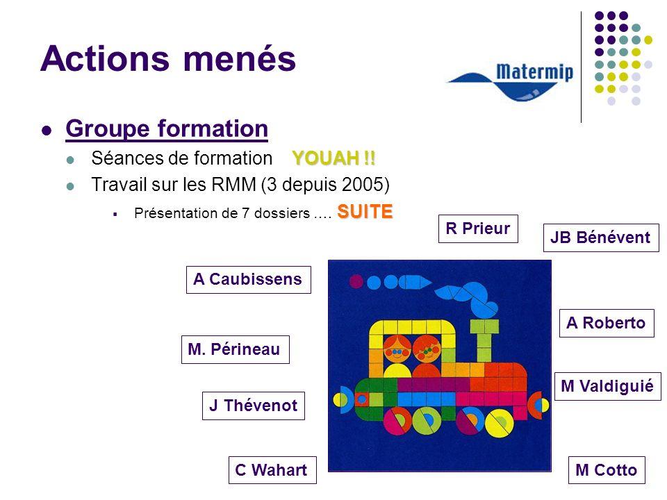 Actions menés Groupe formation YOUAH !! Séances de formation YOUAH !! Travail sur les RMM (3 depuis 2005) SUITE Présentation de 7 dossiers …. SUITE M.
