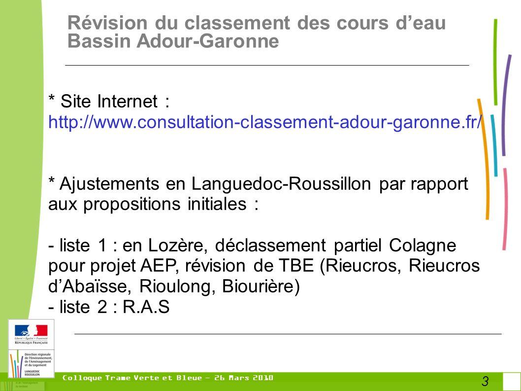 Colloque Trame Verte et Bleue - 26 Mars 2010 3 Révision du classement des cours deau Bassin Adour-Garonne * Site Internet : http://www.consultation-classement-adour-garonne.fr/ * Ajustements en Languedoc-Roussillon par rapport aux propositions initiales : - liste 1 : en Lozère, déclassement partiel Colagne pour projet AEP, révision de TBE (Rieucros, Rieucros dAbaïsse, Rioulong, Biourière) - liste 2 : R.A.S