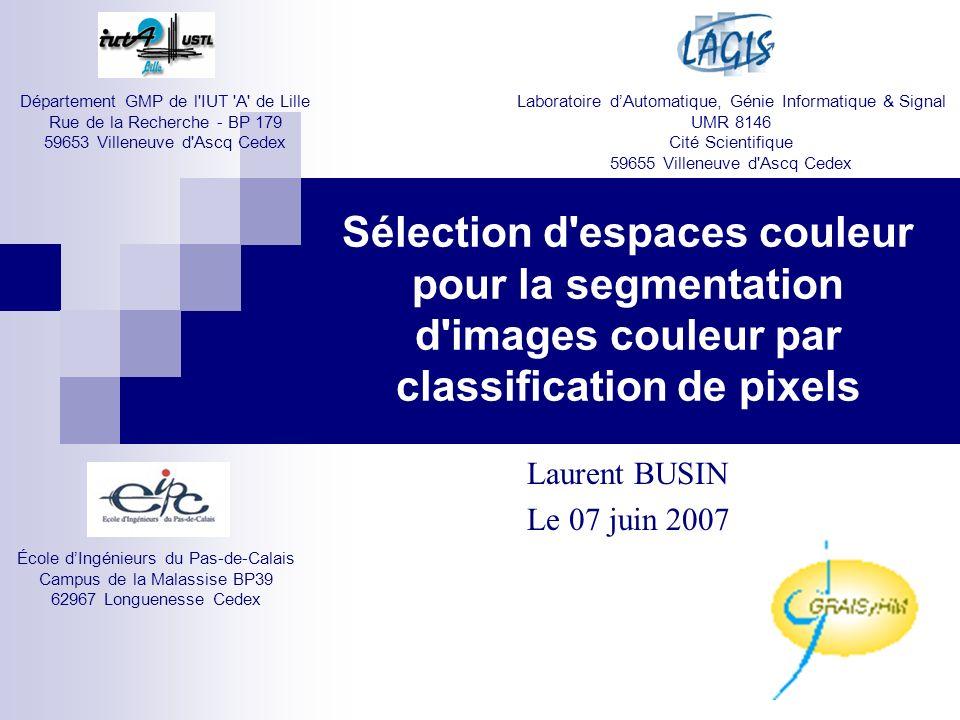 Image originale Image segmentée avec lespace (R,G,B) Image segmentée avec lespace (Y,U,V) Sélection despace pour chaque classe de pixels