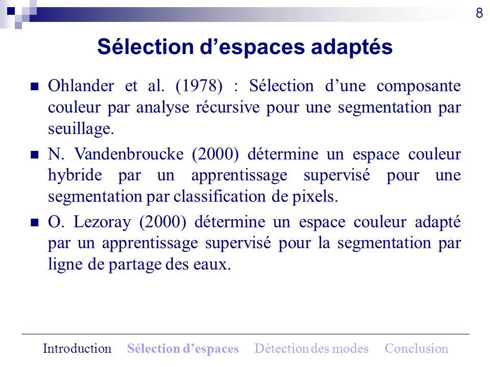 Sélection despaces adaptés 8 Ohlander et al. (1978) : Sélection dune composante couleur par analyse récursive pour une segmentation par seuillage. N.