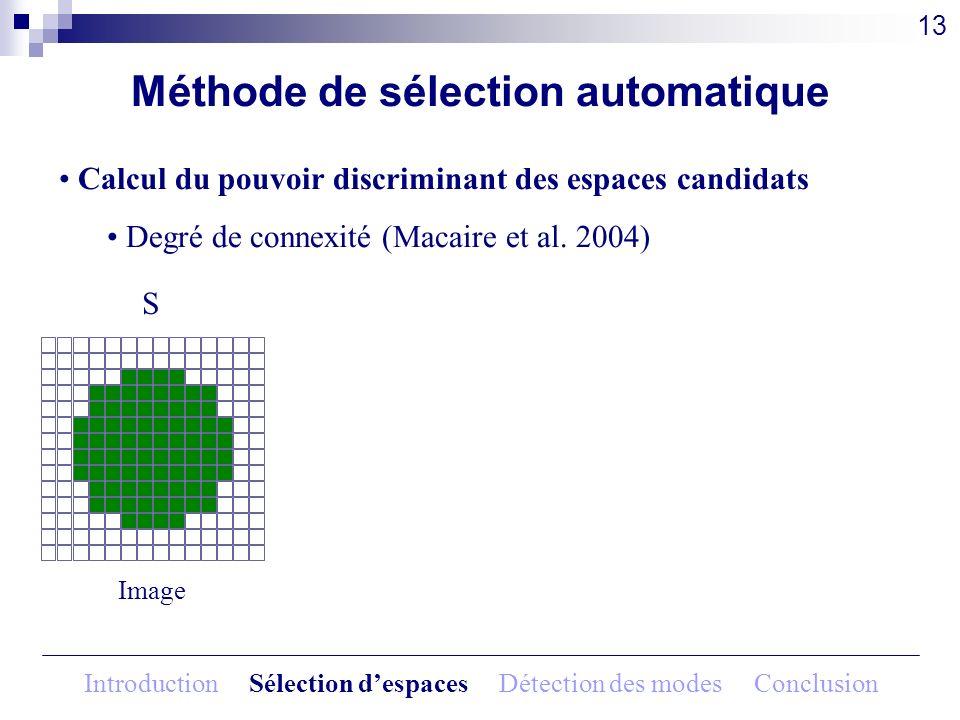 Méthode de sélection automatique Calcul du pouvoir discriminant des espaces candidats Degré de connexité (Macaire et al. 2004) Image S 13 Introduction