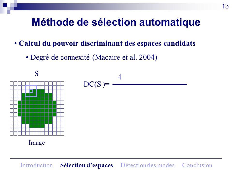 Méthode de sélection automatique Calcul du pouvoir discriminant des espaces candidats Degré de connexité (Macaire et al. 2004) Image S DC(S )= 13 4 In