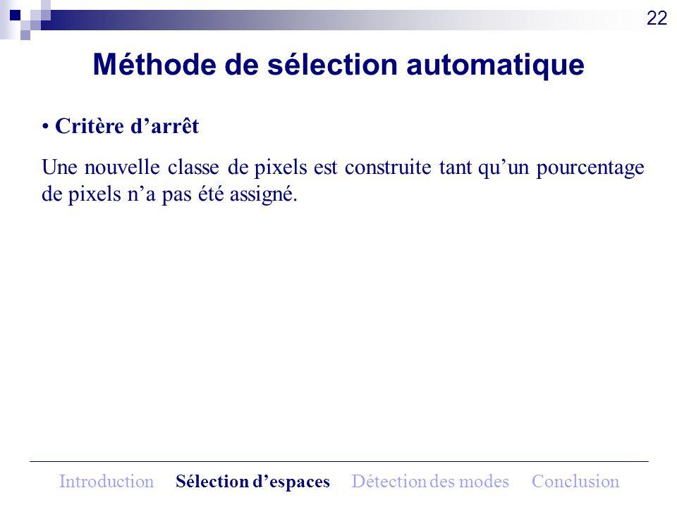 Méthode de sélection automatique Critère darrêt Une nouvelle classe de pixels est construite tant quun pourcentage de pixels na pas été assigné. 22 In