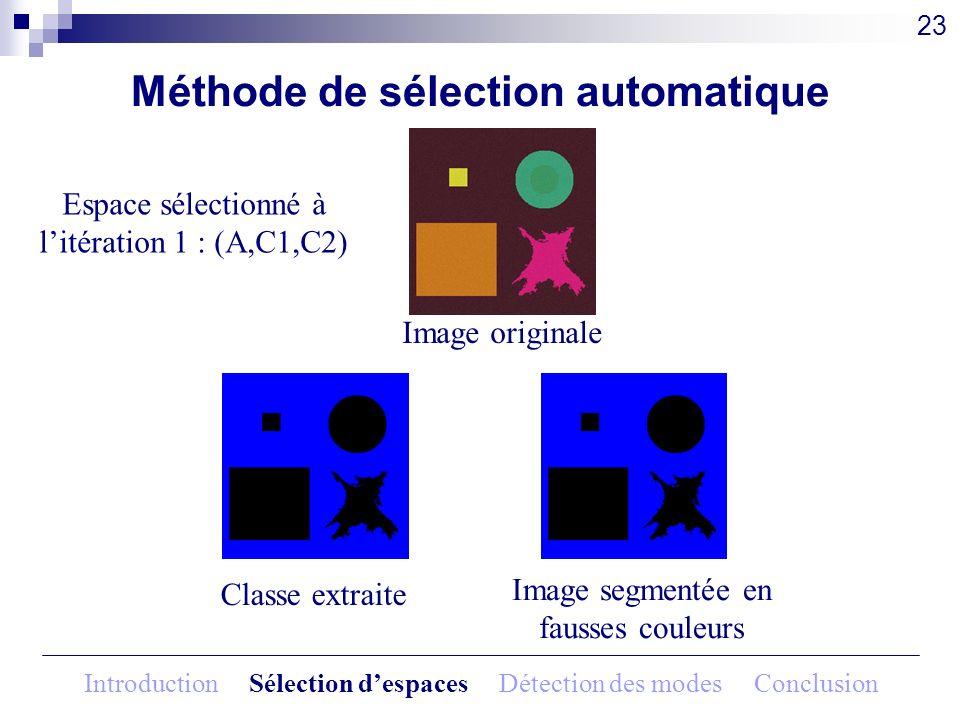 Image originale Classe extraite Image segmentée en fausses couleurs Méthode de sélection automatique Espace sélectionné à litération 1 : (A,C1,C2) 23