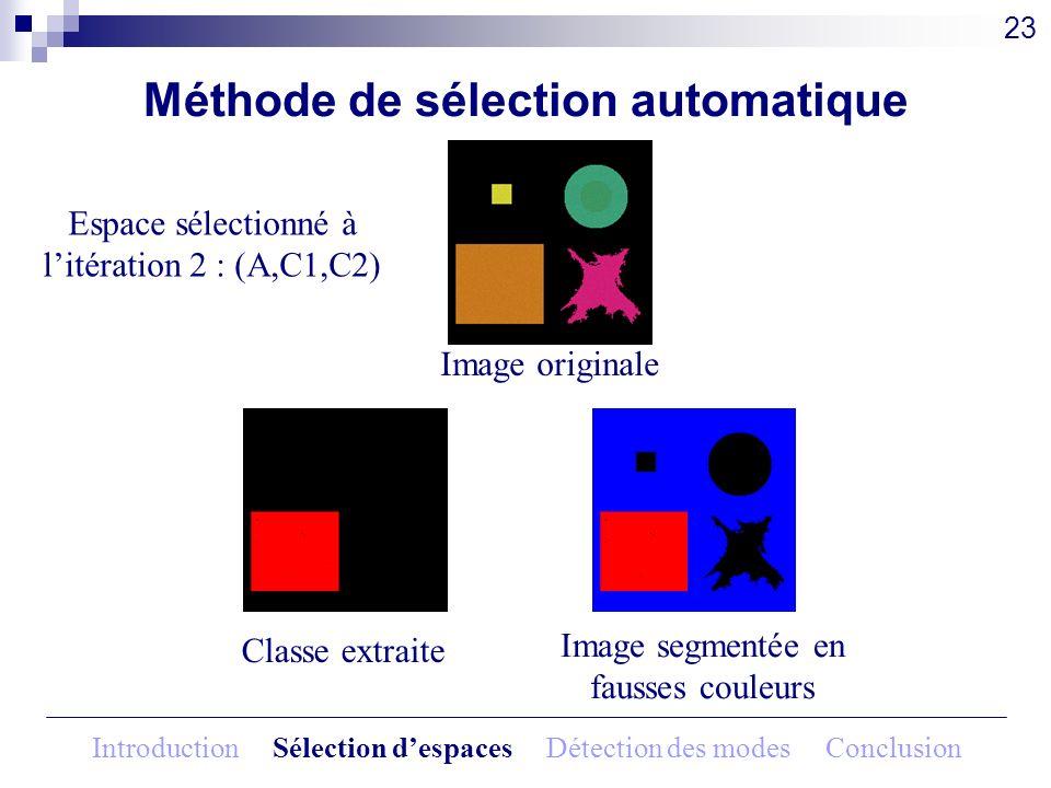Méthode de sélection automatique Image originale 23 Espace sélectionné à litération 2 : (A,C1,C2) Classe extraite Image segmentée en fausses couleurs