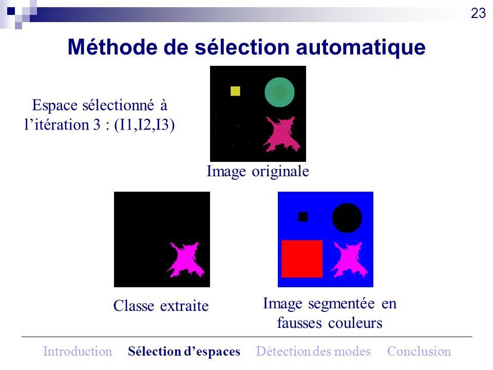 Méthode de sélection automatique Image originale 23 Espace sélectionné à litération 3 : (I1,I2,I3) Classe extraite Image segmentée en fausses couleurs