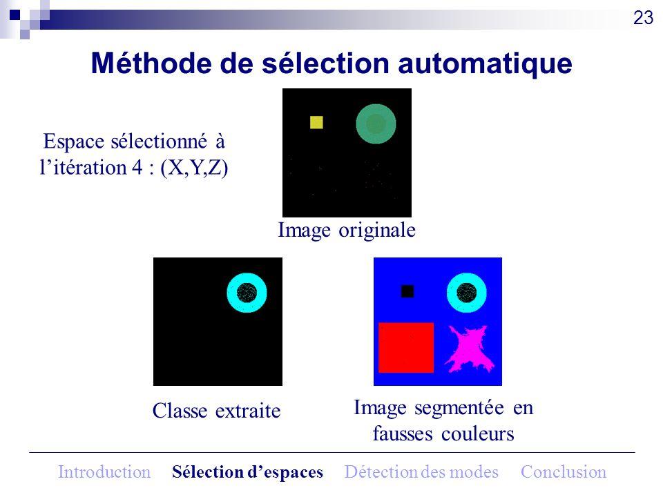 Méthode de sélection automatique Image originale 23 Espace sélectionné à litération 4 : (X,Y,Z) Classe extraite Image segmentée en fausses couleurs In