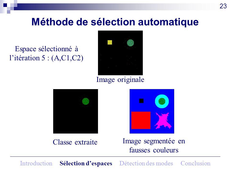 Méthode de sélection automatique Image originale 23 Espace sélectionné à litération 5 : (A,C1,C2) Classe extraite Image segmentée en fausses couleurs