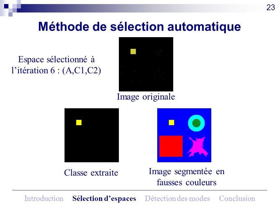 Méthode de sélection automatique Image originale 23 Espace sélectionné à litération 6 : (A,C1,C2) Classe extraite Image segmentée en fausses couleurs