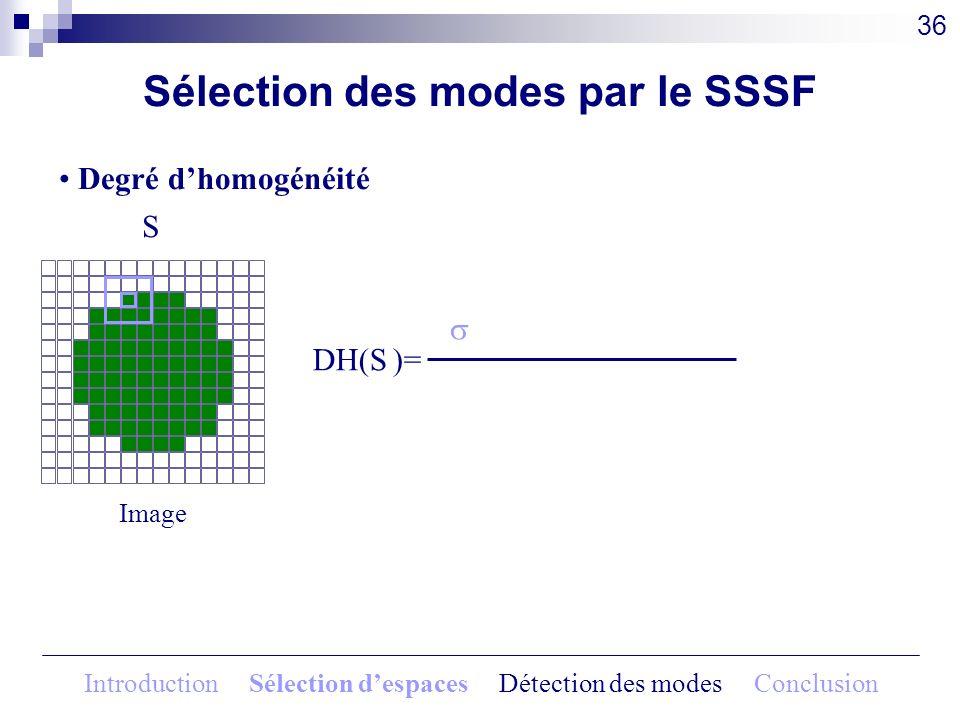 DH(S )= Sélection des modes par le SSSF Degré dhomogénéité 36 Introduction Sélection despaces Détection des modes Conclusion