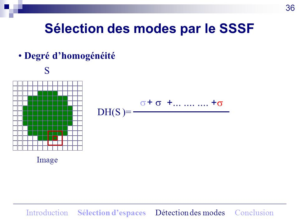 + +........... + DH(S )= Sélection des modes par le SSSF Image S Degré dhomogénéité 36 Introduction Sélection despaces Détection des modes Conclusion