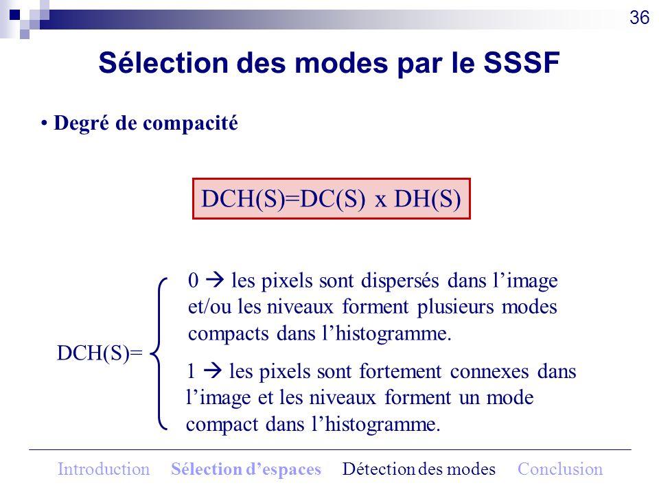 DCH(S)=DC(S) x DH(S) Sélection des modes par le SSSF Degré de compacité 36 DCH(S)= 0 les pixels sont dispersés dans limage et/ou les niveaux forment p