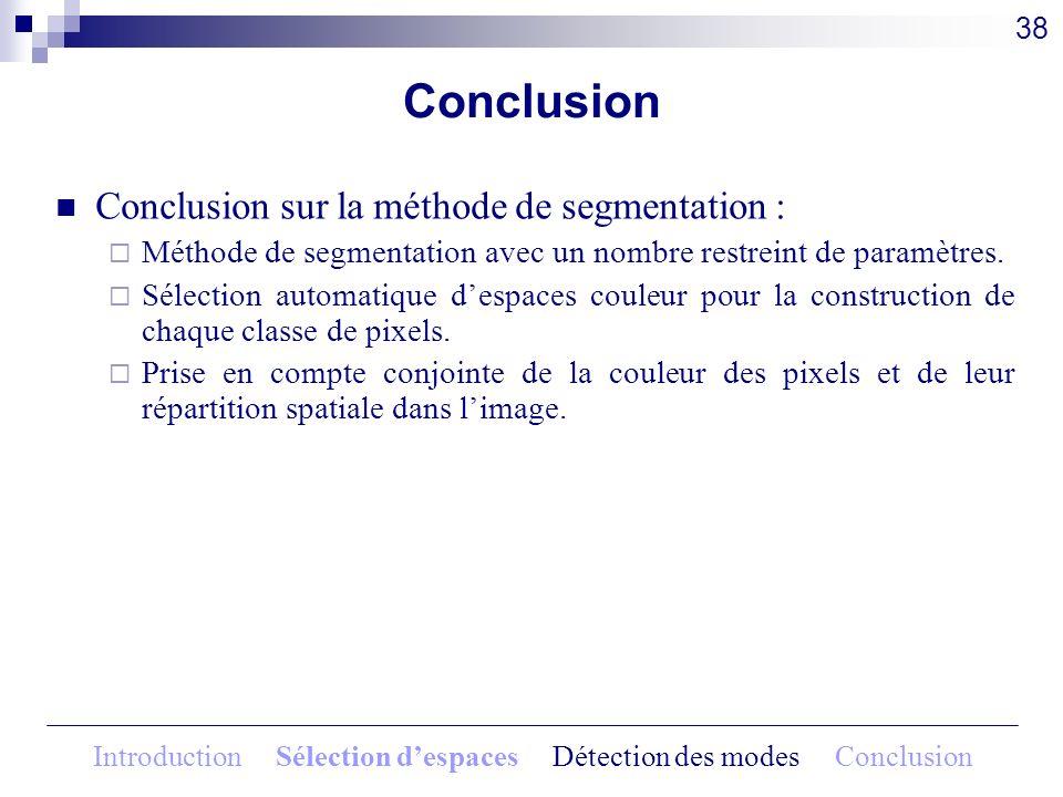 Conclusion Conclusion sur la méthode de segmentation : Méthode de segmentation avec un nombre restreint de paramètres. Sélection automatique despaces