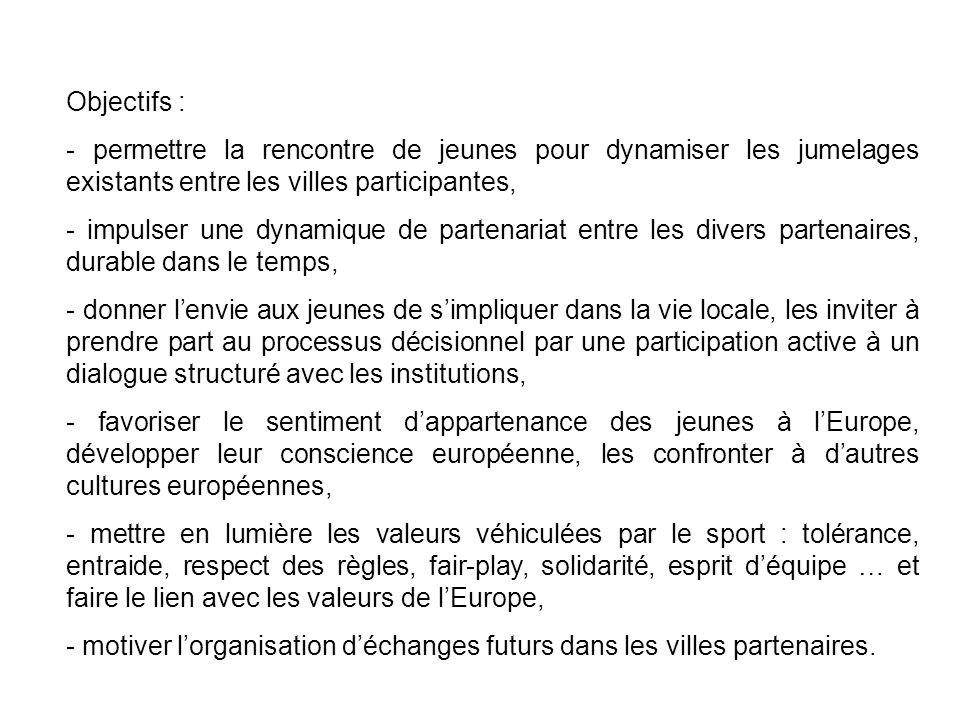 JEUNESSE EN ACTION 2007-2013 Objectifs : - permettre la rencontre de jeunes pour dynamiser les jumelages existants entre les villes participantes, - impulser une dynamique de partenariat entre les divers partenaires, durable dans le temps, - donner lenvie aux jeunes de simpliquer dans la vie locale, les inviter à prendre part au processus décisionnel par une participation active à un dialogue structuré avec les institutions, - favoriser le sentiment dappartenance des jeunes à lEurope, développer leur conscience européenne, les confronter à dautres cultures européennes, - mettre en lumière les valeurs véhiculées par le sport : tolérance, entraide, respect des règles, fair-play, solidarité, esprit déquipe … et faire le lien avec les valeurs de lEurope, - motiver lorganisation déchanges futurs dans les villes partenaires.