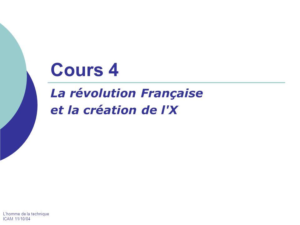 L homme de la technique ICAM 11/10/04 Cours 4 La révolution Française et la création de l X