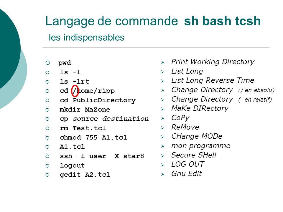 Le langage de programmation Tcl Tcl est un langage de programmation qui ressemble aux langages de script comme sh, bash, csh, tcsh Avec plus de fonctionnalités Similaire à Perl, Python, … et à PHP, … assez différent de … C, C++, Java car pas de déclarations de types.