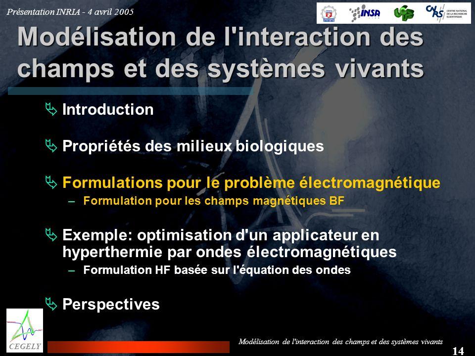 Présentation INRIA - 4 avril 2005 14 CEGELY Modélisation de l'interaction des champs et des systèmes vivants Introduction Propriétés des milieux biolo