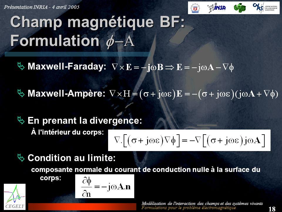 Présentation INRIA - 4 avril 2005 18 CEGELY Modélisation de l'interaction des champs et des systèmes vivants Champ magnétique BF: Formulation Maxwell-