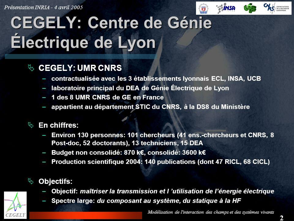 Présentation INRIA - 4 avril 2005 2 CEGELY Modélisation de l'interaction des champs et des systèmes vivants CEGELY: Centre de Génie Électrique de Lyon