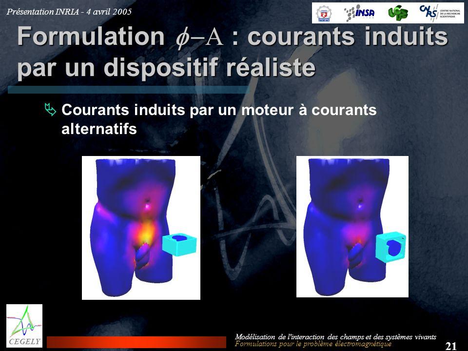 Présentation INRIA - 4 avril 2005 21 CEGELY Modélisation de l'interaction des champs et des systèmes vivants Formulation : courants induits par un dis