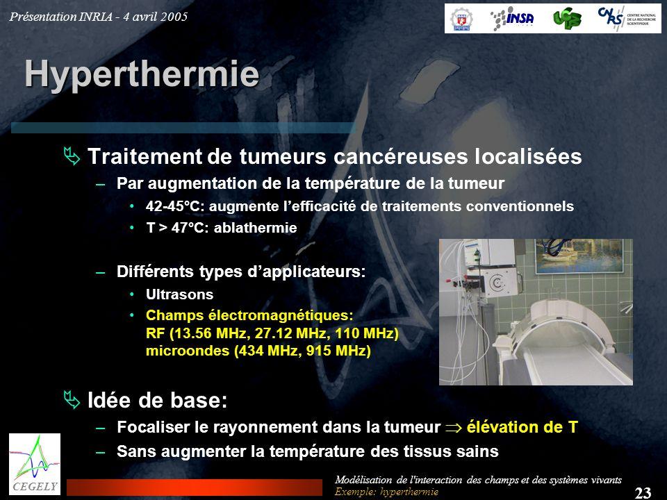 Présentation INRIA - 4 avril 2005 23 CEGELY Modélisation de l'interaction des champs et des systèmes vivants Hyperthermie Traitement de tumeurs cancér
