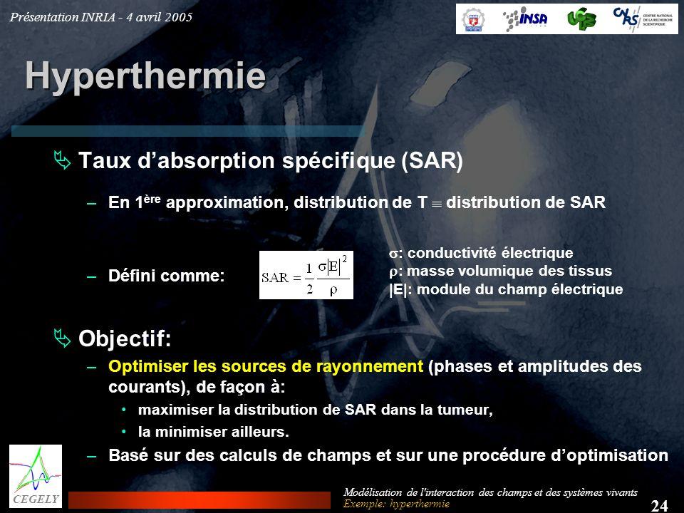 Présentation INRIA - 4 avril 2005 24 CEGELY Modélisation de l'interaction des champs et des systèmes vivants Hyperthermie Taux dabsorption spécifique