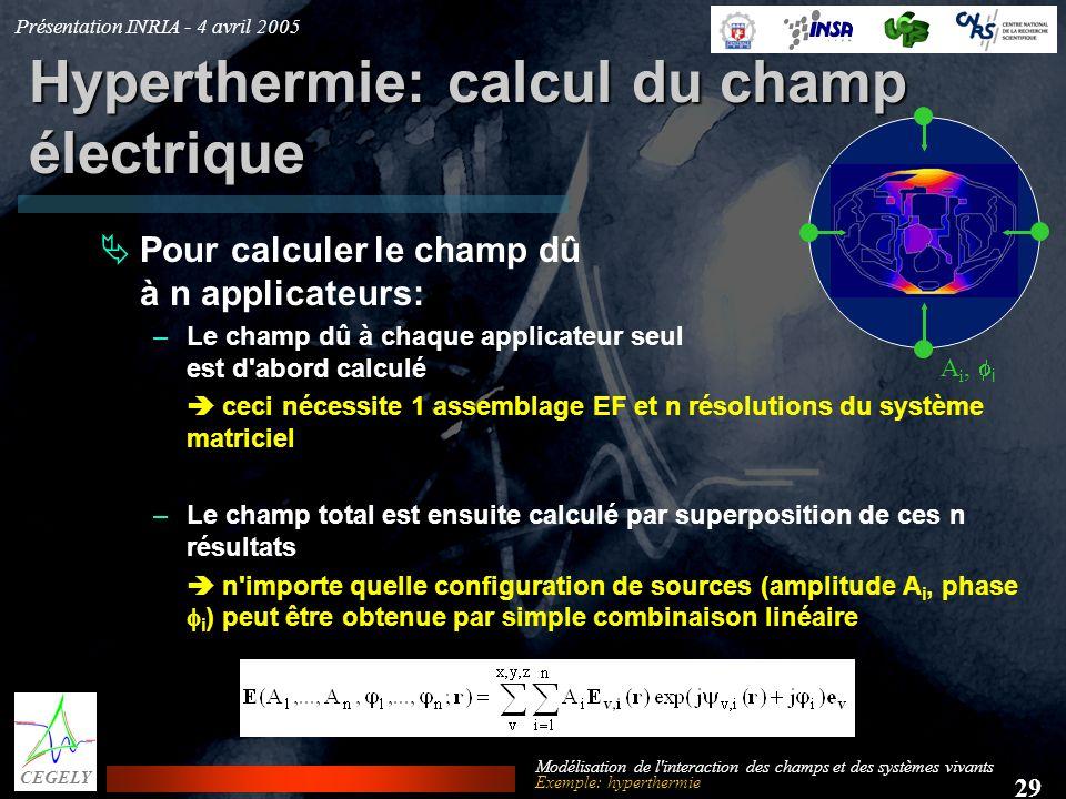 Présentation INRIA - 4 avril 2005 29 CEGELY Modélisation de l'interaction des champs et des systèmes vivants Hyperthermie: calcul du champ électrique