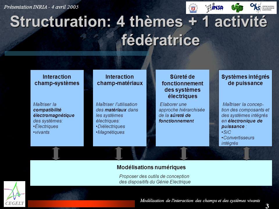 Présentation INRIA - 4 avril 2005 3 CEGELY Modélisation de l'interaction des champs et des systèmes vivants Structuration: 4 thèmes + 1 activité fédér